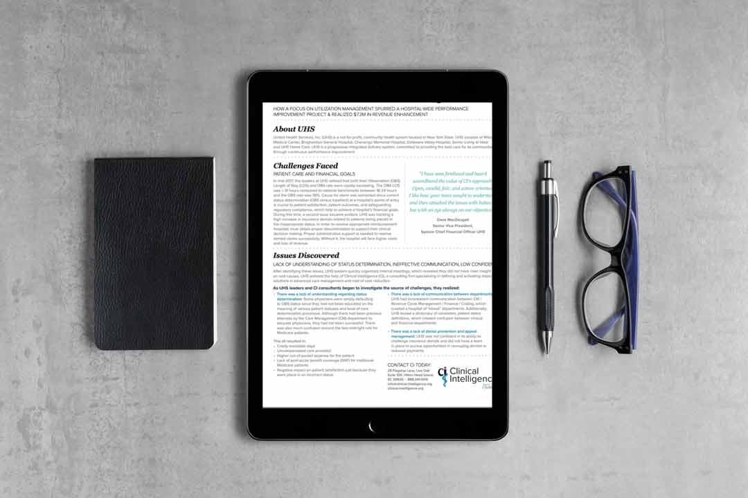 Case study document on an ipad on a desk